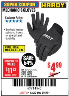 Harbor Freight Coupon MECHANIC'S GLOVES Lot No. 62434/62426/62433/62432/62429/64178/64179/62428 Expired: 2/4/19 - $4.99
