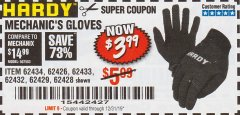 Harbor Freight Coupon MECHANIC'S GLOVES Lot No. 62434/62426/62433/62432/62429/64178/64179/62428 Expired: 12/31/19 - $3.99