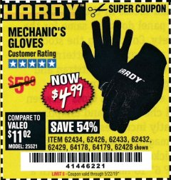 Harbor Freight Coupon MECHANIC'S GLOVES Lot No. 62434/62426/62433/62432/62429/64178/64179/62428 Expired: 5/22/19 - $4.99