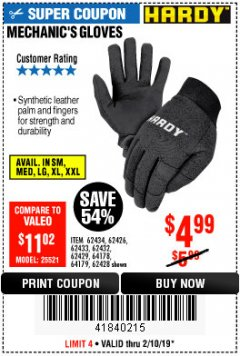 Harbor Freight Coupon MECHANIC'S GLOVES Lot No. 62434/62426/62433/62432/62429/64178/64179/62428 Expired: 2/10/19 - $4.99