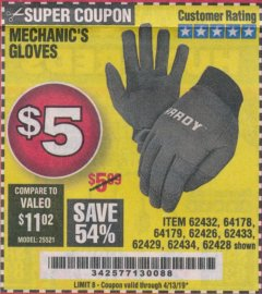Harbor Freight Coupon MECHANIC'S GLOVES Lot No. 62434/62426/62433/62432/62429/64178/64179/62428 Expired: 4/13/19 - $5