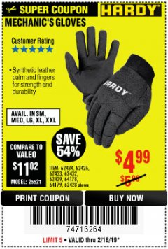 Harbor Freight Coupon MECHANIC'S GLOVES Lot No. 62434/62426/62433/62432/62429/64178/64179/62428 Expired: 2/24/19 - $4.99