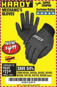 Harbor Freight Coupon MECHANIC'S GLOVES Lot No. 62434/62426/62433/62432/62429/64178/64179/62428 Expired: 6/15/19 - $4.99