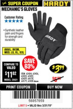 Harbor Freight Coupon MECHANIC'S GLOVES Lot No. 62434/62426/62433/62432/62429/64178/64179/62428 Expired: 3/31/19 - $3.99