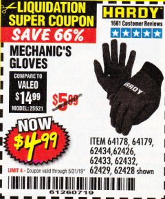 Harbor Freight Coupon MECHANIC'S GLOVES Lot No. 62434/62426/62433/62432/62429/64178/64179/62428 Expired: 5/31/19 - $4.99