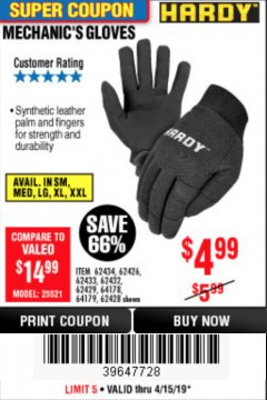 Harbor Freight Coupon MECHANIC'S GLOVES Lot No. 62434/62426/62433/62432/62429/64178/64179/62428 Expired: 4/15/19 - $4.99