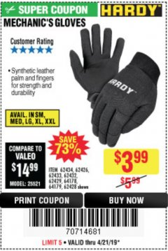 Harbor Freight Coupon MECHANIC'S GLOVES Lot No. 62434/62426/62433/62432/62429/64178/64179/62428 Expired: 4/21/19 - $3.99