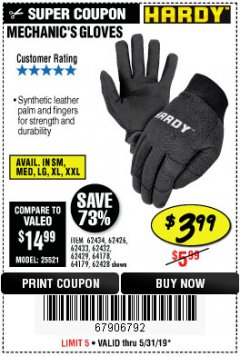 Harbor Freight Coupon MECHANIC'S GLOVES Lot No. 62434/62426/62433/62432/62429/64178/64179/62428 Expired: 5/31/19 - $3.99