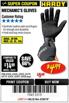 Harbor Freight Coupon MECHANIC'S GLOVES Lot No. 62434/62426/62433/62432/62429/64178/64179/62428 Expired: 6/30/19 - $4.99