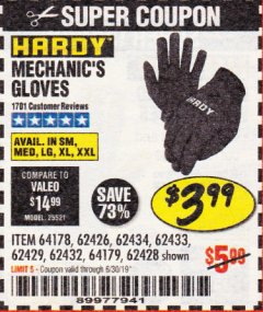 Harbor Freight Coupon MECHANIC'S GLOVES Lot No. 62434/62426/62433/62432/62429/64178/64179/62428 Expired: 6/30/19 - $3.99
