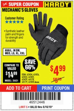 Harbor Freight Coupon MECHANIC'S GLOVES Lot No. 62434/62426/62433/62432/62429/64178/64179/62428 Expired: 6/16/19 - $4.99