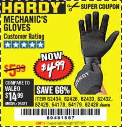 Harbor Freight Coupon MECHANIC'S GLOVES Lot No. 62434/62426/62433/62432/62429/64178/64179/62428 Expired: 10/27/19 - $4.99
