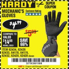 Harbor Freight Coupon MECHANIC'S GLOVES Lot No. 62434/62426/62433/62432/62429/64178/64179/62428 Expired: 12/2/19 - $4.99