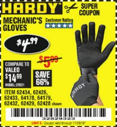 Harbor Freight Coupon MECHANIC'S GLOVES Lot No. 62434/62426/62433/62432/62429/64178/64179/62428 Expired: 11/26/19 - $4.99