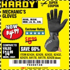 Harbor Freight Coupon MECHANIC'S GLOVES Lot No. 62434/62426/62433/62432/62429/64178/64179/62428 Expired: 11/12/19 - $4.99