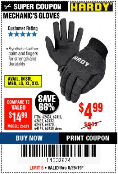 Harbor Freight Coupon MECHANIC'S GLOVES Lot No. 62434/62426/62433/62432/62429/64178/64179/62428 Expired: 8/25/19 - $4.99
