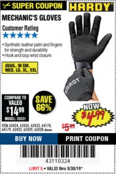 Harbor Freight Coupon MECHANIC'S GLOVES Lot No. 62434/62426/62433/62432/62429/64178/64179/62428 Expired: 9/30/19 - $4.99
