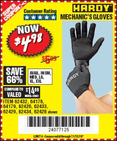 Harbor Freight Coupon MECHANIC'S GLOVES Lot No. 62434/62426/62433/62432/62429/64178/64179/62428 Expired: 11/13/19 - $4.98