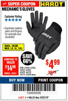 Harbor Freight Coupon MECHANIC'S GLOVES Lot No. 62434/62426/62433/62432/62429/64178/64179/62428 Expired: 9/22/19 - $4.99