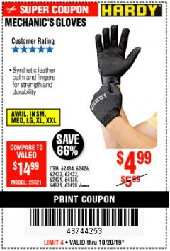 Harbor Freight Coupon MECHANIC'S GLOVES Lot No. 62434/62426/62433/62432/62429/64178/64179/62428 Expired: 10/20/19 - $4.99