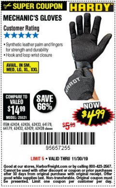 Harbor Freight Coupon MECHANIC'S GLOVES Lot No. 62434/62426/62433/62432/62429/64178/64179/62428 Expired: 11/30/19 - $4.99