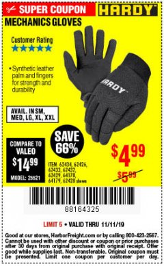 Harbor Freight Coupon MECHANIC'S GLOVES Lot No. 62434/62426/62433/62432/62429/64178/64179/62428 Expired: 11/11/19 - $4.99