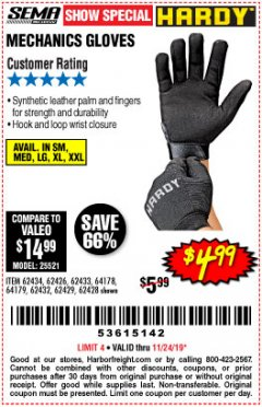 Harbor Freight Coupon MECHANIC'S GLOVES Lot No. 62434/62426/62433/62432/62429/64178/64179/62428 Expired: 11/24/19 - $4.99