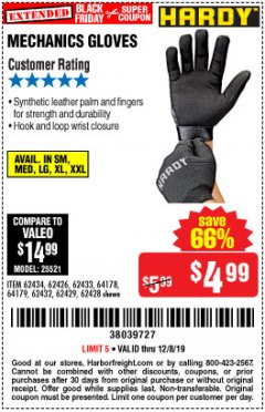 Harbor Freight Coupon MECHANIC'S GLOVES Lot No. 62434/62426/62433/62432/62429/64178/64179/62428 Expired: 12/8/19 - $4.99