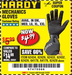 Harbor Freight Coupon MECHANIC'S GLOVES Lot No. 62434/62426/62433/62432/62429/64178/64179/62428 Expired: 2/3/20 - $4.99