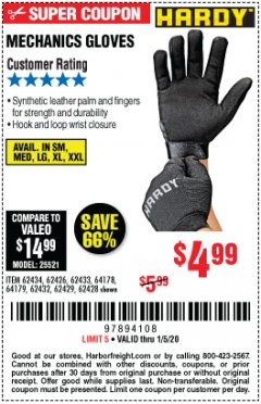 Harbor Freight Coupon MECHANIC'S GLOVES Lot No. 62434/62426/62433/62432/62429/64178/64179/62428 Expired: 1/5/20 - $4.99
