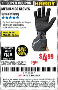 Harbor Freight Coupon MECHANIC'S GLOVES Lot No. 62434/62426/62433/62432/62429/64178/64179/62428 Expired: 2/23/20 - $4.99