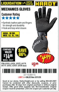 Harbor Freight Coupon MECHANIC'S GLOVES Lot No. 62434/62426/62433/62432/62429/64178/64179/62428 Expired: 3/31/20 - $4.99
