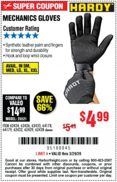 Harbor Freight Coupon MECHANIC'S GLOVES Lot No. 62434/62426/62433/62432/62429/64178/64179/62428 Expired: 3/29/20 - $4.99