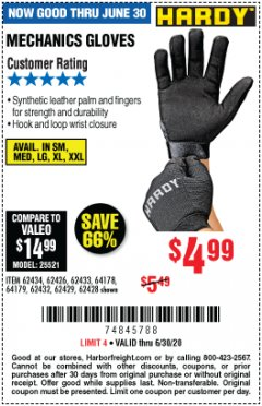 Harbor Freight Coupon MECHANIC'S GLOVES Lot No. 62434/62426/62433/62432/62429/64178/64179/62428 Expired: 6/30/20 - $4.99