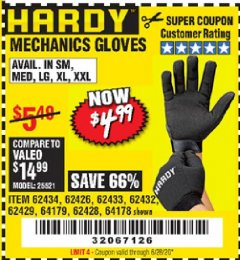 Harbor Freight Coupon MECHANIC'S GLOVES Lot No. 62434/62426/62433/62432/62429/64178/64179/62428 Expired: 6/28/20 - $4.99