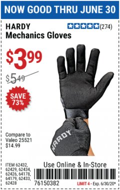 Harbor Freight Coupon MECHANIC'S GLOVES Lot No. 62434/62426/62433/62432/62429/64178/64179/62428 Expired: 6/30/20 - $3.99