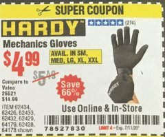 Harbor Freight Coupon MECHANIC'S GLOVES Lot No. 62434/62426/62433/62432/62429/64178/64179/62428 Expired: 7/11/20 - $4.99