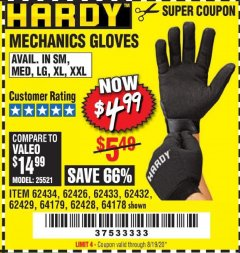 Harbor Freight Coupon MECHANIC'S GLOVES Lot No. 62434/62426/62433/62432/62429/64178/64179/62428 Expired: 8/19/20 - $4.99