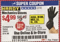 Harbor Freight Coupon MECHANIC'S GLOVES Lot No. 62434/62426/62433/62432/62429/64178/64179/62428 Expired: 7/18/20 - $4.99