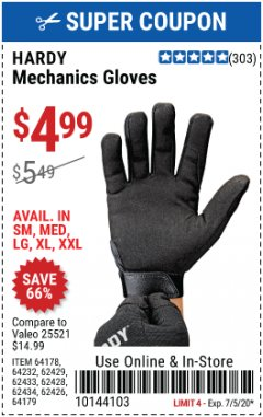 Harbor Freight Coupon MECHANIC'S GLOVES Lot No. 62434/62426/62433/62432/62429/64178/64179/62428 Expired: 7/5/20 - $4.99
