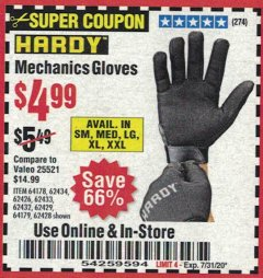 Harbor Freight Coupon MECHANIC'S GLOVES Lot No. 62434/62426/62433/62432/62429/64178/64179/62428 Expired: 7/31/20 - $4.99