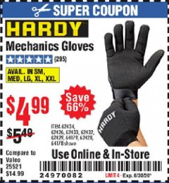 Harbor Freight Coupon MECHANIC'S GLOVES Lot No. 62434/62426/62433/62432/62429/64178/64179/62428 Expired: 8/30/20 - $4.99