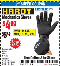 Harbor Freight Coupon MECHANIC'S GLOVES Lot No. 62434/62426/62433/62432/62429/64178/64179/62428 Expired: 9/6/20 - $4.99