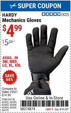 Harbor Freight Coupon MECHANIC'S GLOVES Lot No. 62434/62426/62433/62432/62429/64178/64179/62428 Expired: 8/31/20 - $4.99