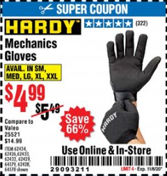 Harbor Freight Coupon MECHANIC'S GLOVES Lot No. 62434/62426/62433/62432/62429/64178/64179/62428 Expired: 11/6/20 - $4.99