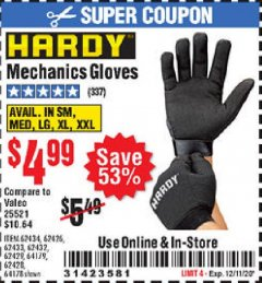 Harbor Freight Coupon MECHANIC'S GLOVES Lot No. 62434/62426/62433/62432/62429/64178/64179/62428 Valid Thru: 12/11/20 - $4.99