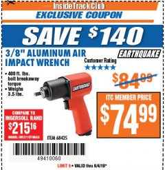 "Harbor Freight ITC Coupon 3/8"" PROFESSIONAL AIR IMPACT WRENCH Lot No. 68425 Expired: 9/4/18 - $74.99"