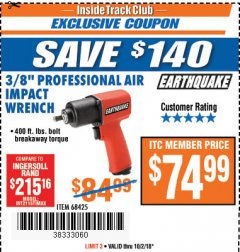"Harbor Freight ITC Coupon 3/8"" PROFESSIONAL AIR IMPACT WRENCH Lot No. 68425 Expired: 10/2/18 - $74.99"