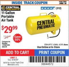 Harbor Freight ITC Coupon 11 GALLON PORTABLE AIR TANK Lot No. 69717/65595 Dates Valid: 12/31/69 - 6/30/20 - $29.99