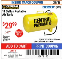 Harbor Freight ITC Coupon 11 GALLON PORTABLE AIR TANK Lot No. 69717/65595 Expired: 6/30/20 - $29.99